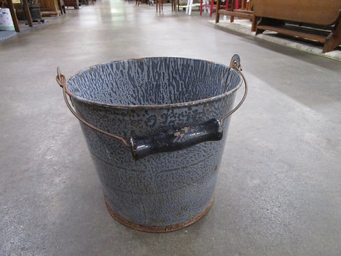 Vintage Gray Graniteware Metal Bucket with Wood Handle
