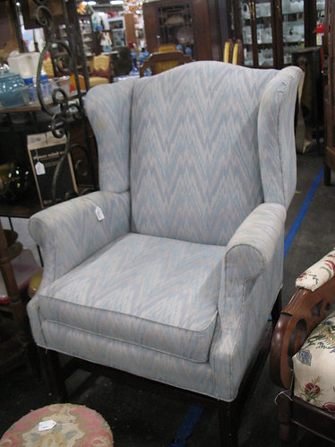 Vintage Flame Stitch Blue/Pink Wingback Chair