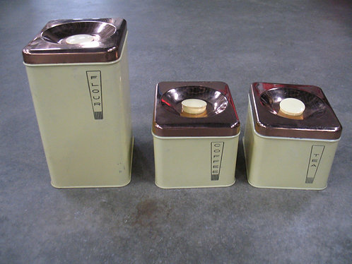 Vintage Lincoln Beautyware Metal Kitchen Canister Set of 3