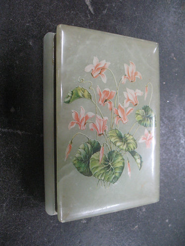 Vintage Hand Carved Alabaster Dresser Trinket Box