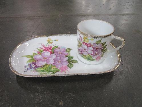 Vintage Royal Crown China Handpainted Snack Set Tray and Teacup