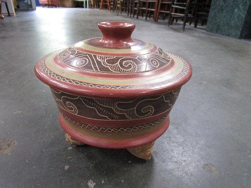 Vintage Mayan Aztec Style Clay Tripod Tureen Bowl