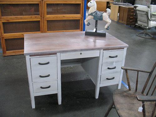 Vintage Wood Hand Painted & Distressed Six Drawer Desk