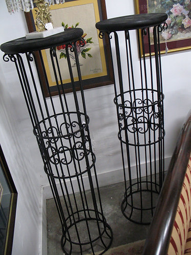 Black Wrought Iron Plant Stand Pair