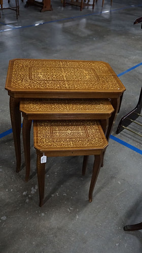 Vintage Mid Century Nested Inlaid Tables with Music Box