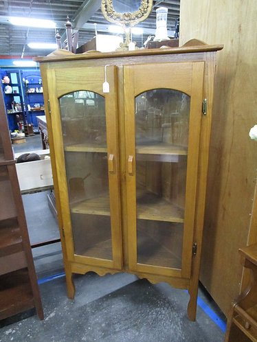 Vintage Oak Corner Two Door Hutch
