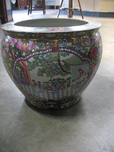 Vintage Oriental Floral & Village Scene Fish Bowl Planter