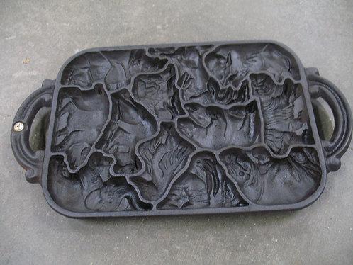 Vintage John Wright Animal Zoo Cast Iron Cookie Cornbread Baking Pan Mold