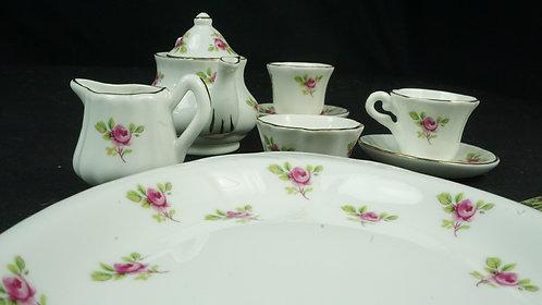 Small Roses Crown Victorian Tea Set, Miniature/Doll/Child: miniature tea set, bo