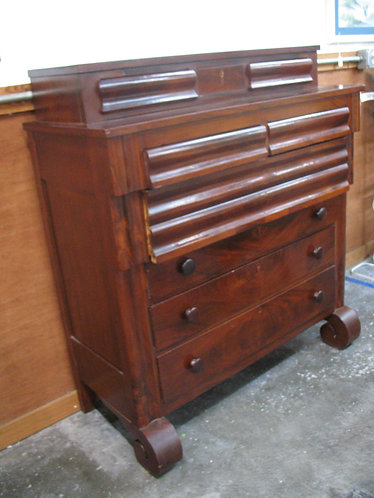 Antique 1800's Flame Mahogany Empire Dresser with Glove Drawers