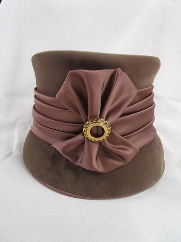 Vintage Ladies Brown Velvet and Satin Lined Hat