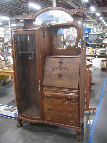 Antique Oak Side by Side Secretary with Bow Front Curio