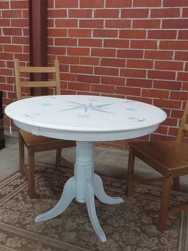 Vintage Painted Oak Pedestal Nautical Dining Table