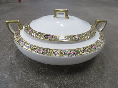 Vintage Homer Laughlin Made in USA Priscilla Pattern Covered Casserole Dish