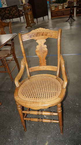 Antique Victorian Hip Rest Cane Bottom Set of 6 Maple Chairs