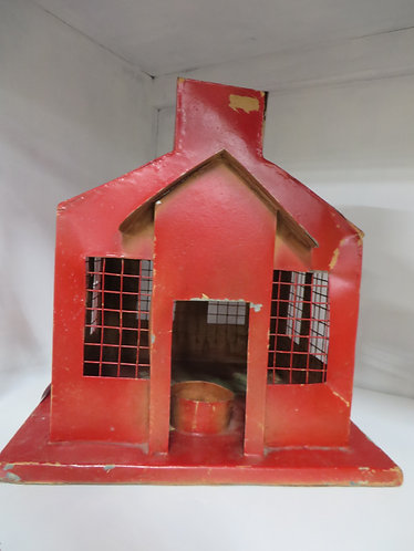 Handmade Red Schoolhouse Candle Lantern