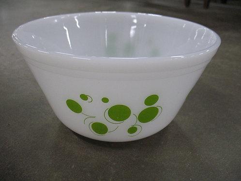 Vintage Federal Glass Co. Milk Glass Lime Green Atomic Dot Mixing Bowl