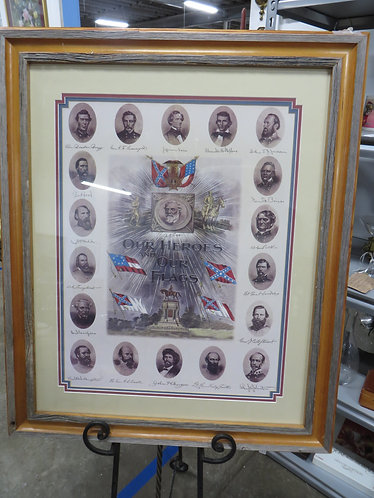 Vintage Confederate Our Heroes and Our Flags, Triple Matted with Handmade Heart