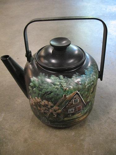 Handpainted Cabin Metal Teapot