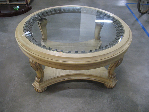 Vintage Wood and Metal Round Cocktail Table