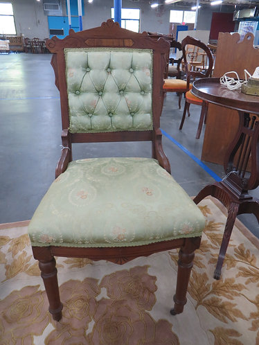 Antique Eastlake Queens Chair, Green Button Back wth Casters