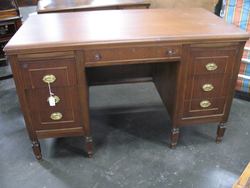 Vintage Wood Six Drawer Desk with Double Pullouts