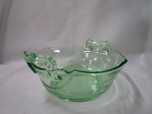 Vintage Green Vaseline Uranium Etched Glass Handled Serving Decor Bowl