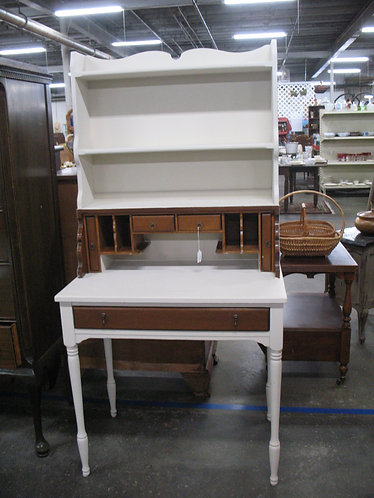 Vintage Pine Painted Desk with Top Hutch