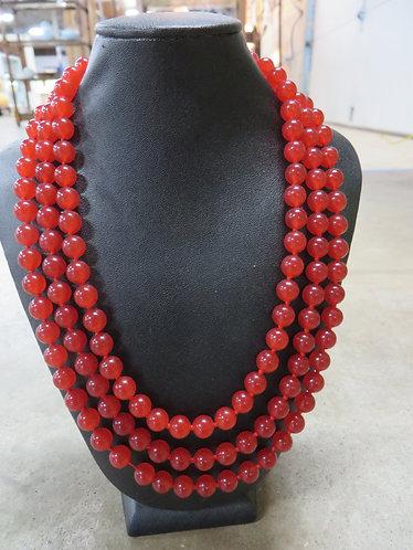 Ruby Bead Three Strand Necklace