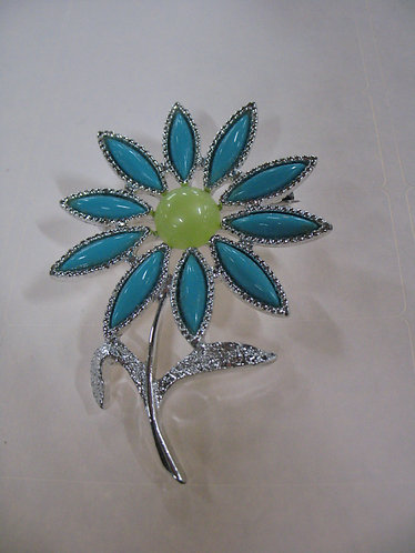 Vintage Sara Coventry Turquoise & Yellow Daisy Brooch