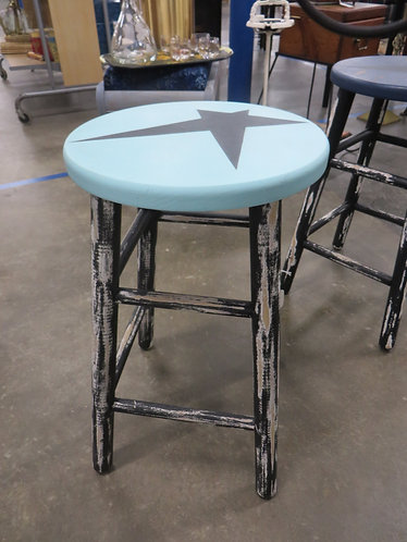 Hand Painted & Distressed Aqua Top Barstool