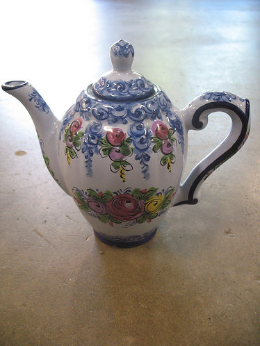 Vintage Made in Portugal Floral Handpainted Teapot