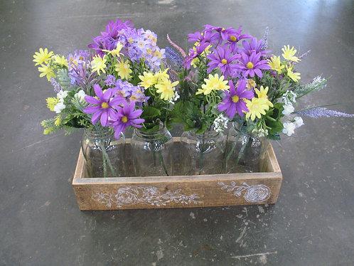 Vintage Wooden Trough Floral Arrangement