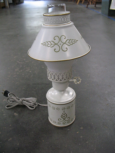 Vintage Metal Tole Electric Small Lamp with Shade