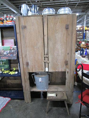 Antique Primitive Farmhouse Solid Wood Cupboard Hutch