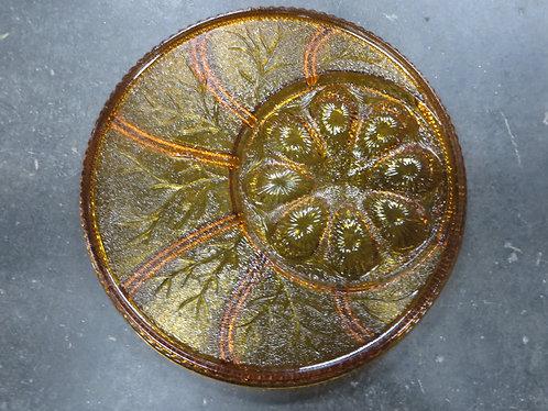 Vintage Indiana Amber Glass Deviled Egg and Appetizer Platter
