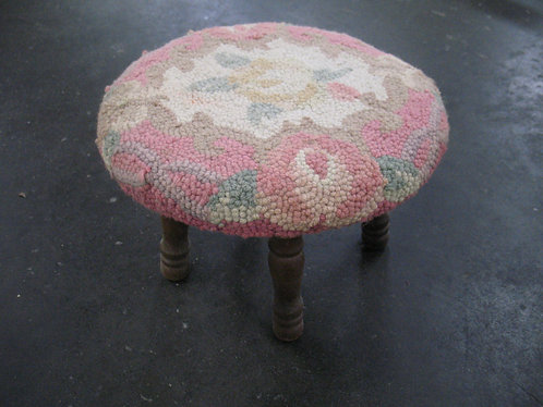 Vintage Floral Embroidery Footstool