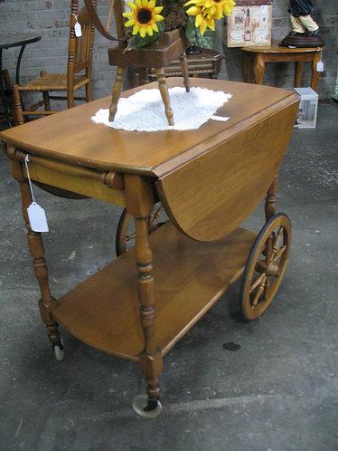 Vintage Drop Leaf Tea Cart with Wheels