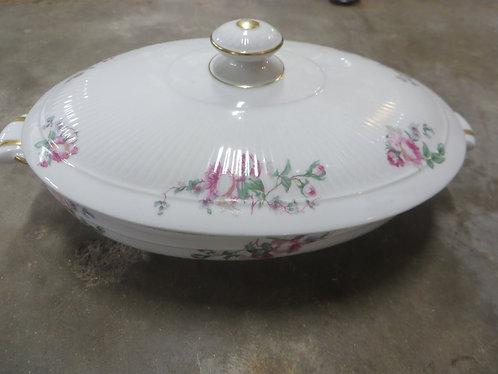 Vintage French Porcelain Limoges Handpainted Covered Vegetable Bowl