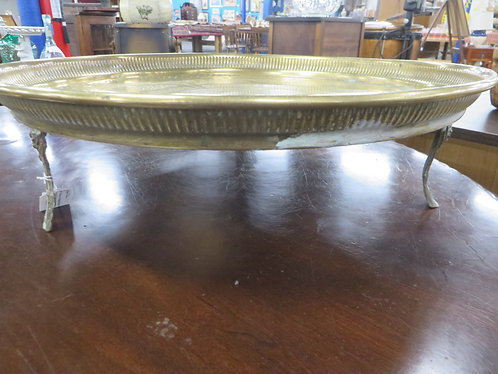 Vintage Brass Hand Hammered Footed Tray