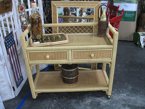 Vintage Henry Link Wicker Buffet with Glass Top and 2 Drawers
