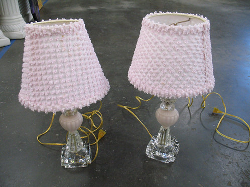 Vintage Electric Clear & Satin Glass Electric Lamp with Pink Chenille Shade Se