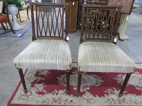 Vintage Mahogany Sheraton Style Side Chairs Set of 2 Chairs