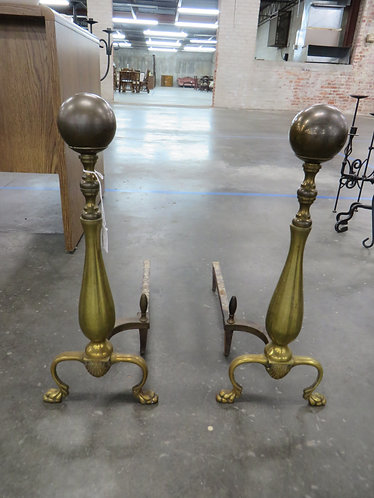 Vintage Brass Andirons ball and post, Federal style
