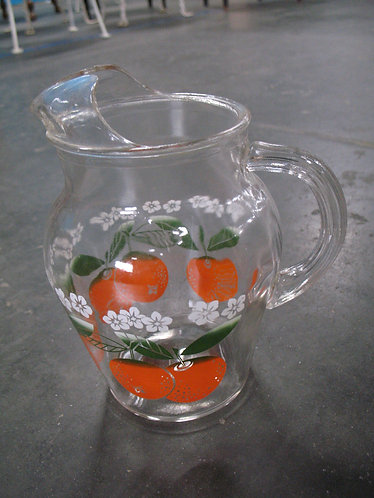 Vintage Clear Glass Orange Juice Pitcher