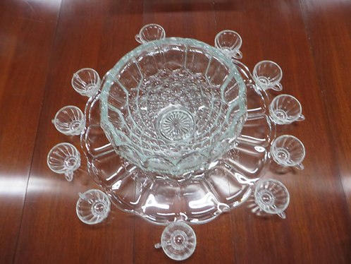 Vintage Punch Bowl, Underplate and (11) Handled Punch Glasses