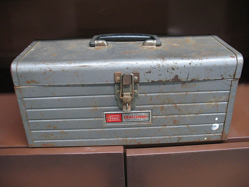 Vintage Metal Sears Craftsman Tool Box with Lift Out Tray