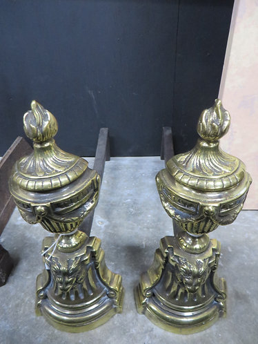 Antique Solid Brass Restored French Andirons with Lion Base