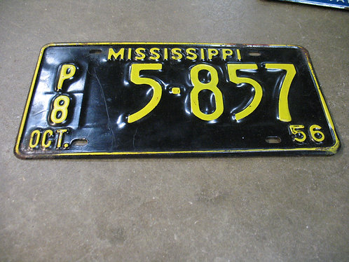 1956 Mississippi P8 5-857 License Plate