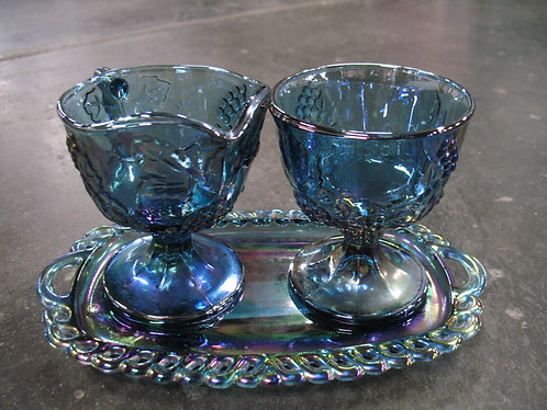 Vintage Indiana Glass Blue Carnival Creamer & Sugar with Tray Set